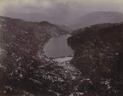 General view looking down on Naini Tal Lake from the northern hills
